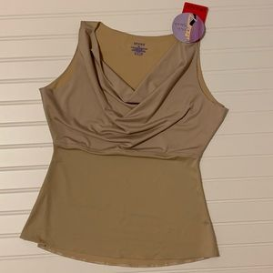 NWT Hide & Sleek nude cowl neck tank by Spanx